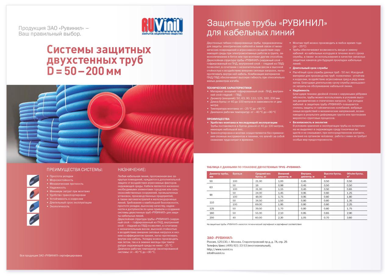 Системы защитных двухстенных труб D = 50 – 200мм Рувинил